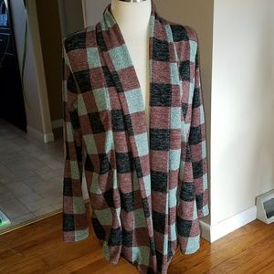 Boutique Checkered Cardigan